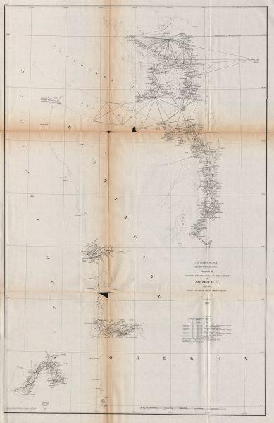 WASHINGTON COAST SURVEY. Puget Sound Tacoma Seattle Juan de Fuca. USCGS 1870 map