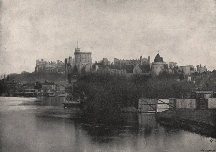 Associate Product WINDSOR CASTLE. From the Thames. Berkshire 1900 old antique print picture
