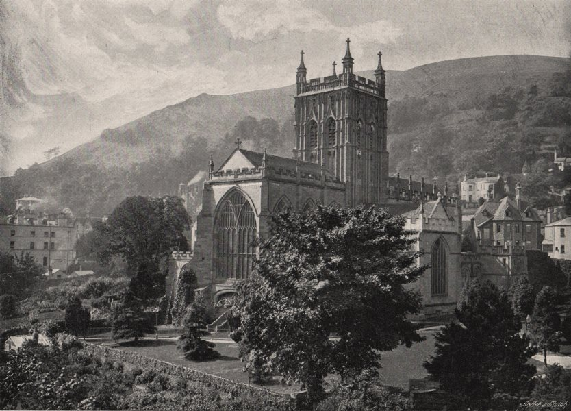 Associate Product GREAT MALVERN. Priory Church. Worcestershire 1900 old antique print picture