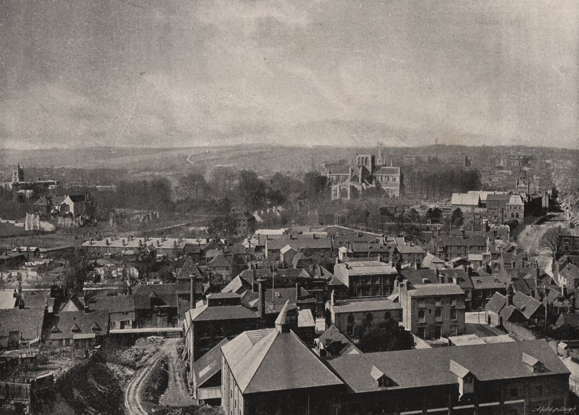 Associate Product WINCHESTER. from St. Giles' Hill. Hampshire 1900 old antique print picture