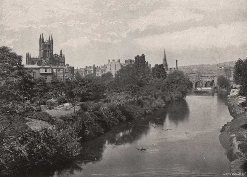 Associate Product BATH. From the Avon river. Bath Abbey. Pulteney Bridge. Somerset 1900 print