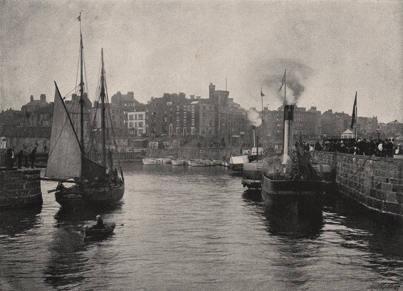 Associate Product BRIDLINGTON QUAY. The Harbour. Steam & sailing boats. Yorkshire 1900 old print