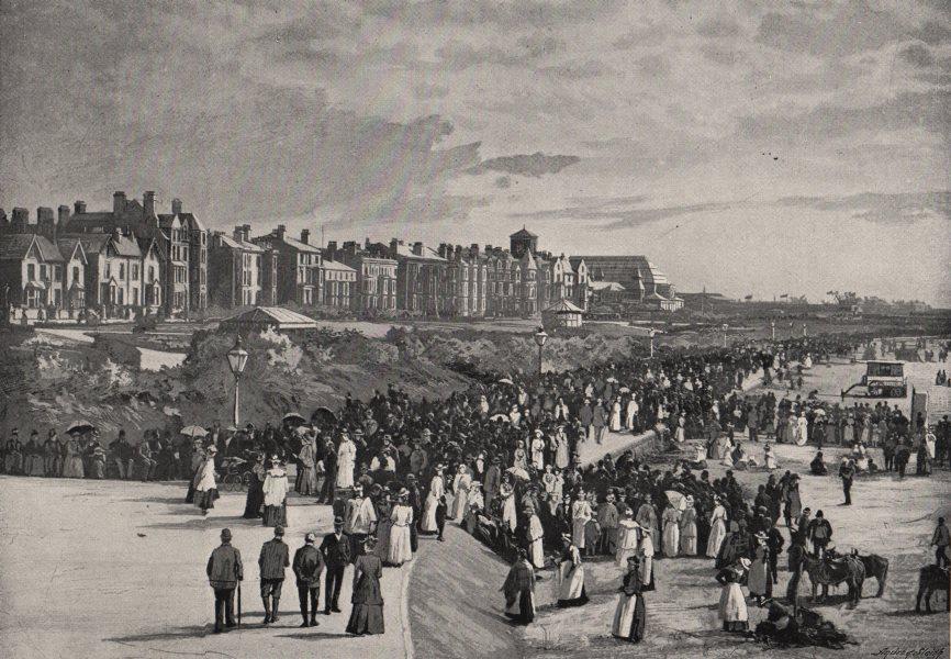 Associate Product SOUTHPORT. Marine Park. Lancashire. Busy scene. Crowds 1900 old antique print