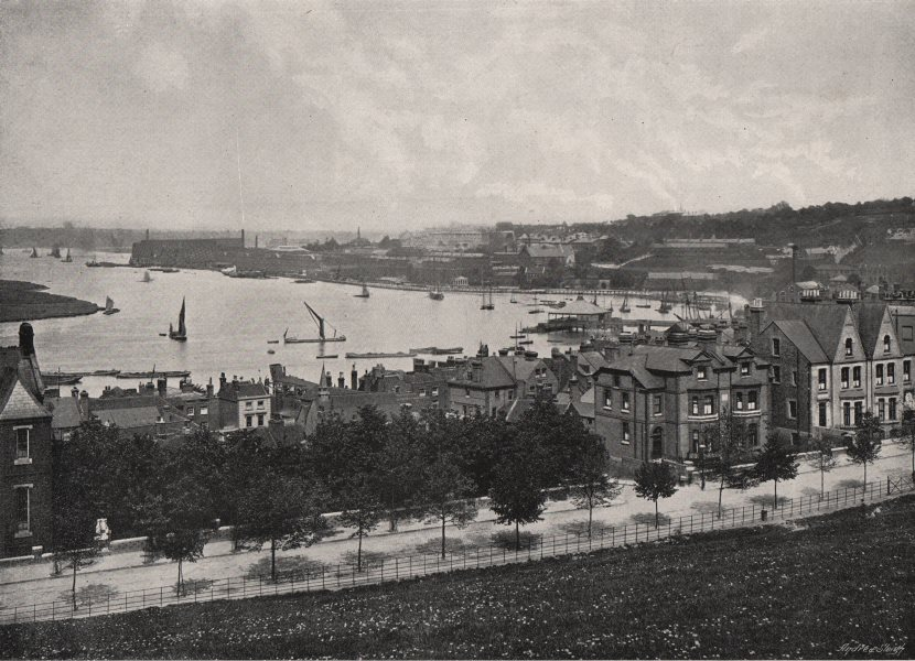 CHATHAM. View of the town & Medway. Kent 1900 old antique print picture
