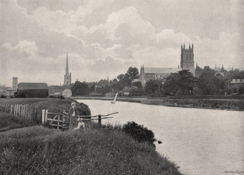 Associate Product WORCESTERSHIRE. Worcester Cathedral 1900 old antique vintage print picture