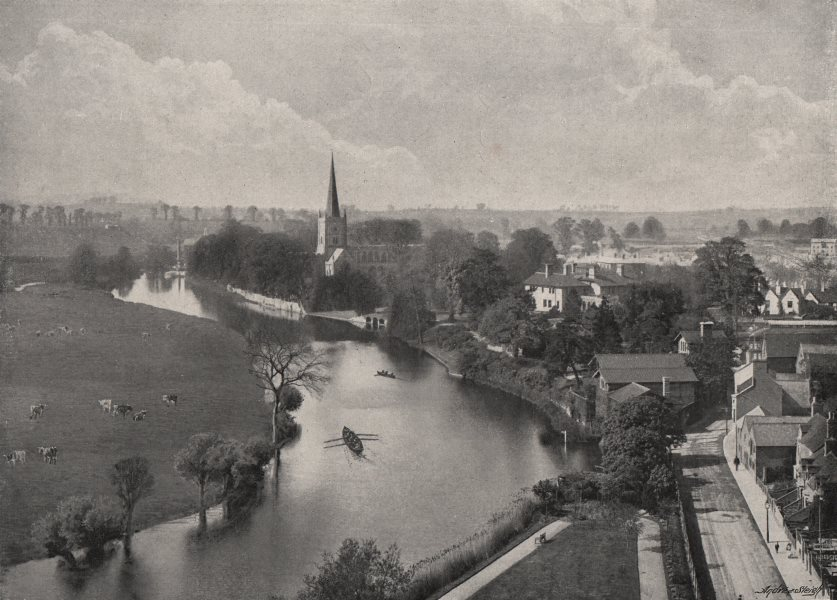 Associate Product STRATFORD-ON-AVON. View of the town. Warwickshire 1900 old antique print