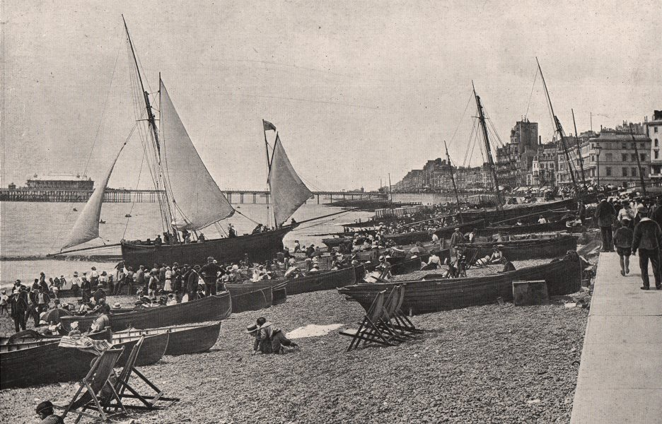 Associate Product HASTINGS. The Beach and Parade. Boats crowds. Sussex. 1900 old antique print