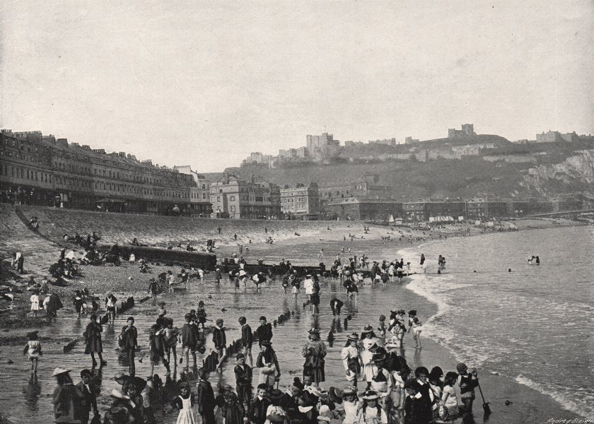 Associate Product DOVER. Esplanade. The Castle and Beach. Many children. Kent 1900 old print