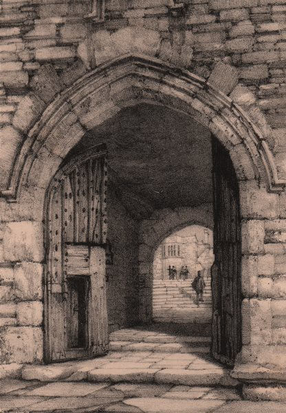 Associate Product HADDON HALL. North entrance. Derbyshire 1836 old antique vintage print picture