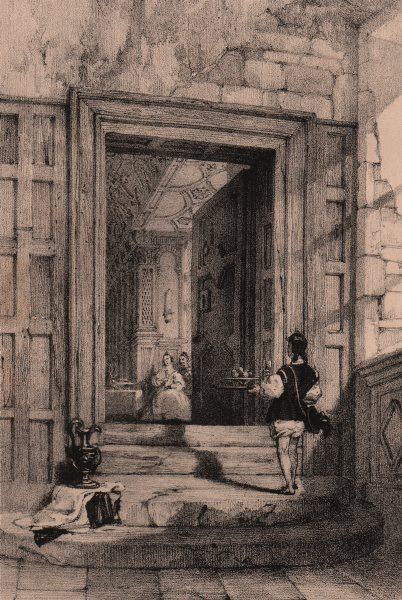 Associate Product HADDON HALL. Interior entrance to the gallery. Derbyshire 1836 old print
