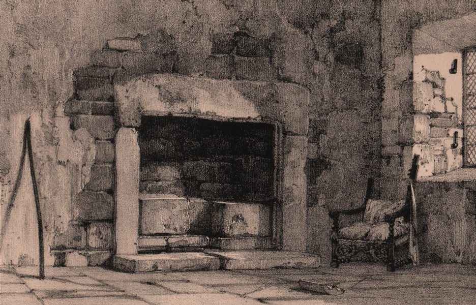 Associate Product HADDON HALL. Norman fire place. Derbyshire 1836 old antique print picture