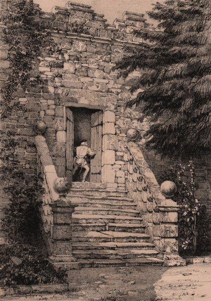 Associate Product HADDON HALL. Dorothy Vernon's Doorway. Derbyshire 1836 old antique print