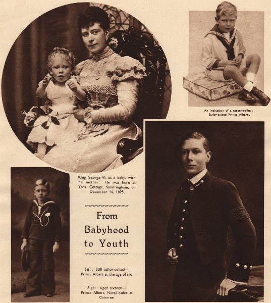 Associate Product KING GEORGE VI. From Babyhood to Youth. As a child 1937 old vintage print