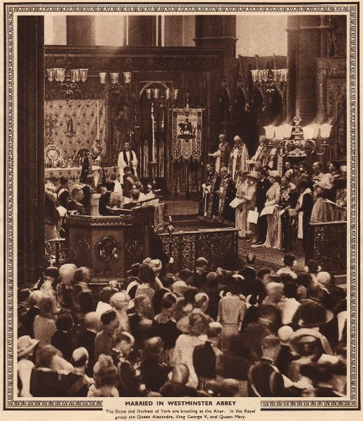 Associate Product KING GEORGE VI. Married in Westminster Abbey. Elizabeth Bowes-Lyon 1937 print