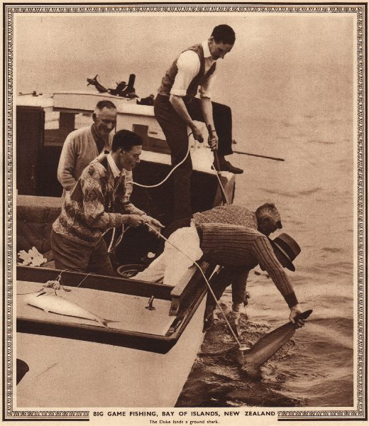 Associate Product KING GEORGE VI. Big game fishing, Bay of Islands, New Zealand 1937 old print