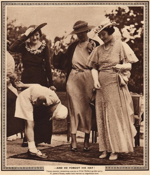 Associate Product QUEEN ELIZABETH QUEEN MOTHER. And he forgot his hat Bowing 1937 old print