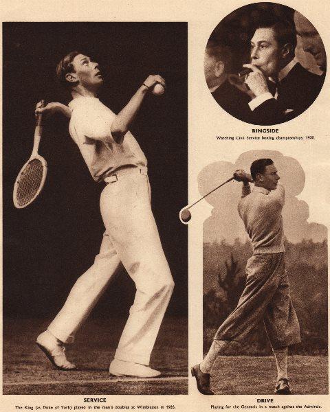 Associate Product KING GEORGE VI. Wimbledon doubles tennis 1926. Golf. Boxing. Sports 1937 print