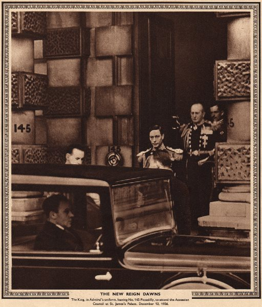 Associate Product KING GEORGE VI. Leaving 145 Piccadilly for Accession council 1936 1937 print