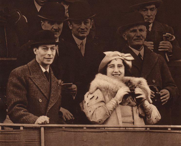 Associate Product KING GEORGE VI & QUEEN ELIZABETH. Sharing a joke at Aintree 1937 old print