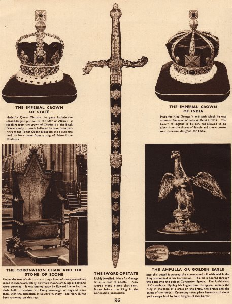 HOUSE WINDSOR. Imperial crowns State/India. Coronation chair. Stone Scone 1937
