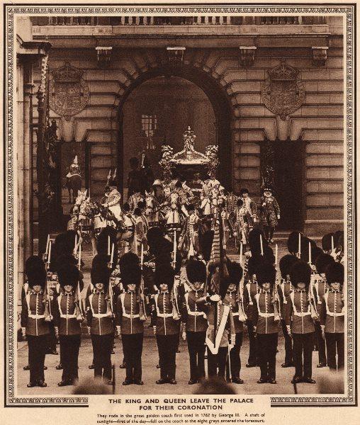 Associate Product CORONATION 1937. King George VI & Queen Elizabeth leave Buckingham Palace 1937
