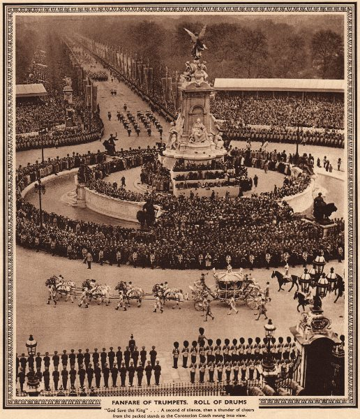 Associate Product CORONATION 1937. Fanfare of Trumpets. Roll drums. Coach. The Mall 1937 print