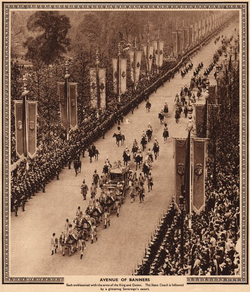 Associate Product CORONATION 1937. Avenue of Banners. State coach on The Mall 1937 old print