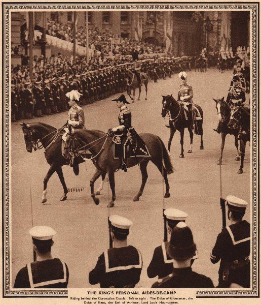 Associate Product CORONATION 1937. King's aides-de-camp. Mountbatten. Dukes Gloucester Kent 1937