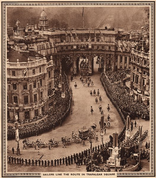 Associate Product CORONATION 1937. Sailors line the route in Trafalgar Square. Admiralty Arch 1937