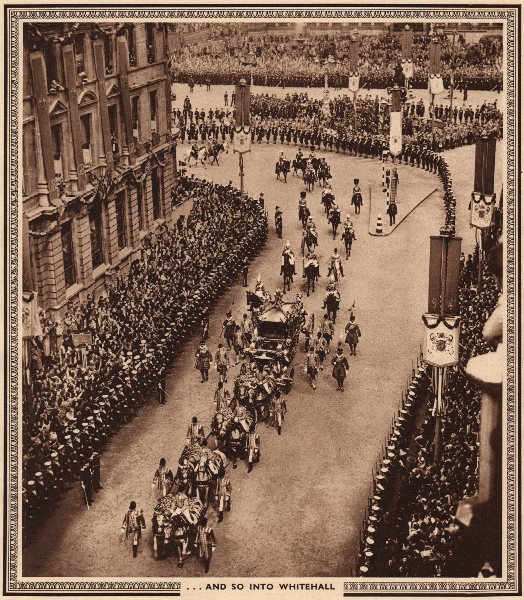 Associate Product CORONATION 1937. And so into Whitehall. State carriage 1937 old vintage print