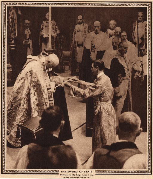 Associate Product CORONATION 1937. The sword of state delivered to King George VI 1937 old print