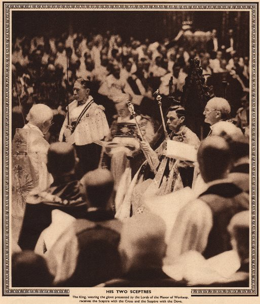 Associate Product CORONATION 1937. King George VI with his two sceptres. Westminster Abbey 1937