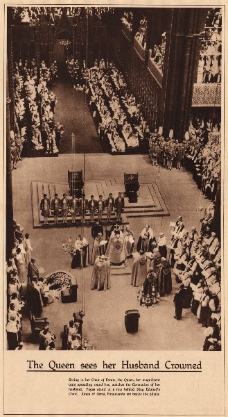 Associate Product CORONATION 1937. Queen Elizabeth King George VI crowned. Westminster Abbey 1937