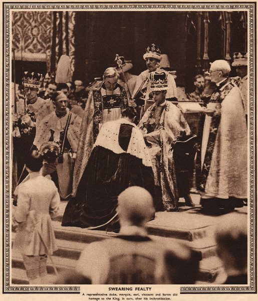 Associate Product CORONATION 1937. Swearing fealty to King George VI. Homage 1937 old print