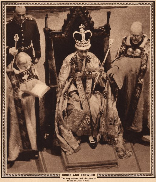 Associate Product CORONATION 1937. Robed and crowned. Imperial mantle of Cloth of Gold 1937