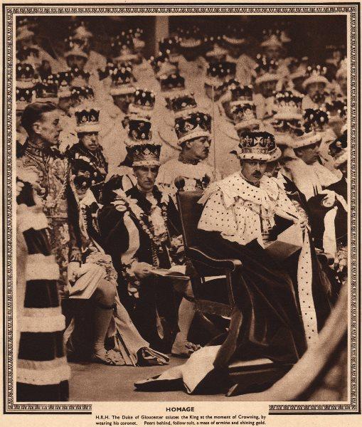 Associate Product CORONATION 1937. Homage. Duke Of Gloucester salutes King George VI 1937 print