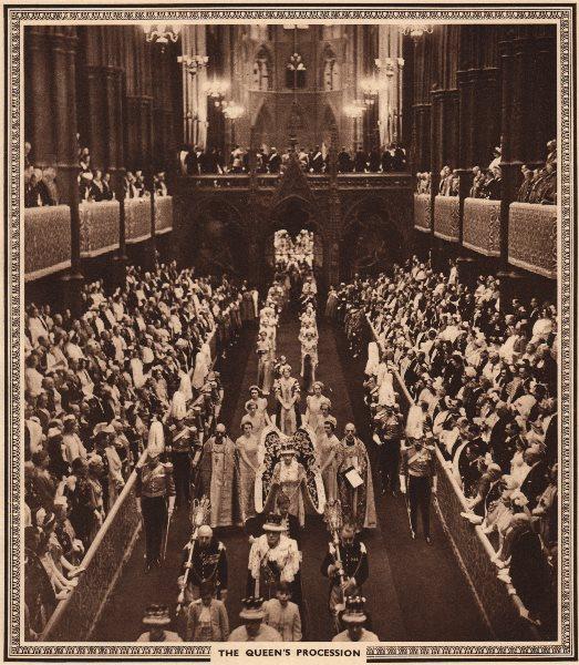 CORONATION 1937. Queen Elizabeth's Procession, Westminster Abbey 1937 print