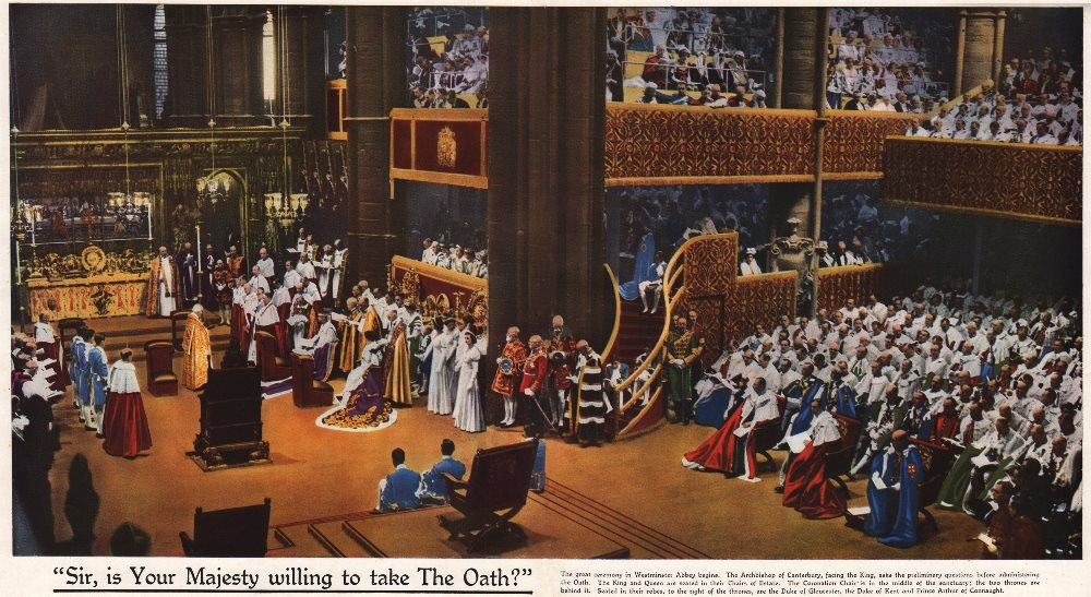 Associate Product CORONATION 1937. Sir, your Majesty willing Oath?. Westminster Abbey 1937 print