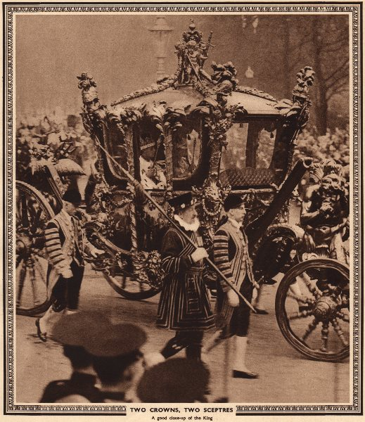 Associate Product CORONATION 1937. Two Crowns, two Sceptres. King George VI in state carriage 1937