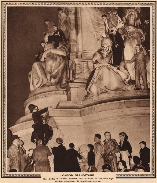 Associate Product CORONATION 1937. People on Victoria memorial. Police getting them down 1937