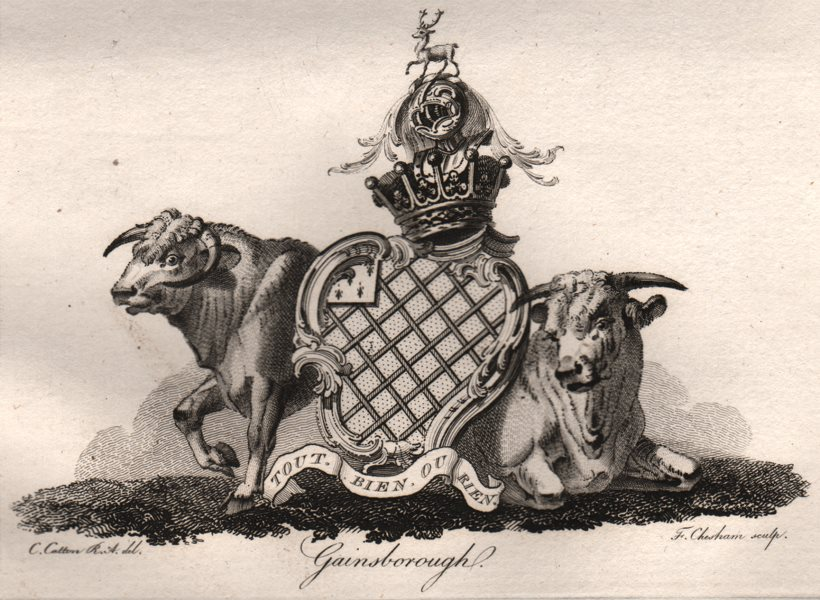 Associate Product GAINSBOROUGH. Coat of Arms. Heraldry 1790 old antique vintage print picture