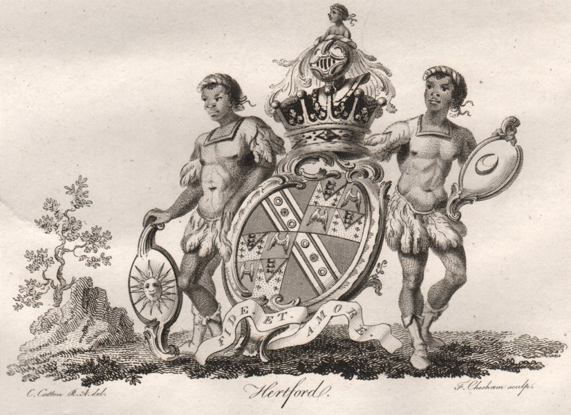 Associate Product HERTFORD. Coat of Arms. Heraldry 1790 old antique vintage print picture