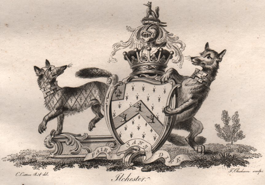 FLCHESTER. Coat of Arms. Heraldry 1790 old antique vintage print picture