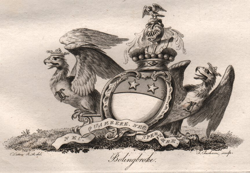 Associate Product BOLINGBROKE. Coat of Arms. Heraldry 1790 old antique vintage print picture