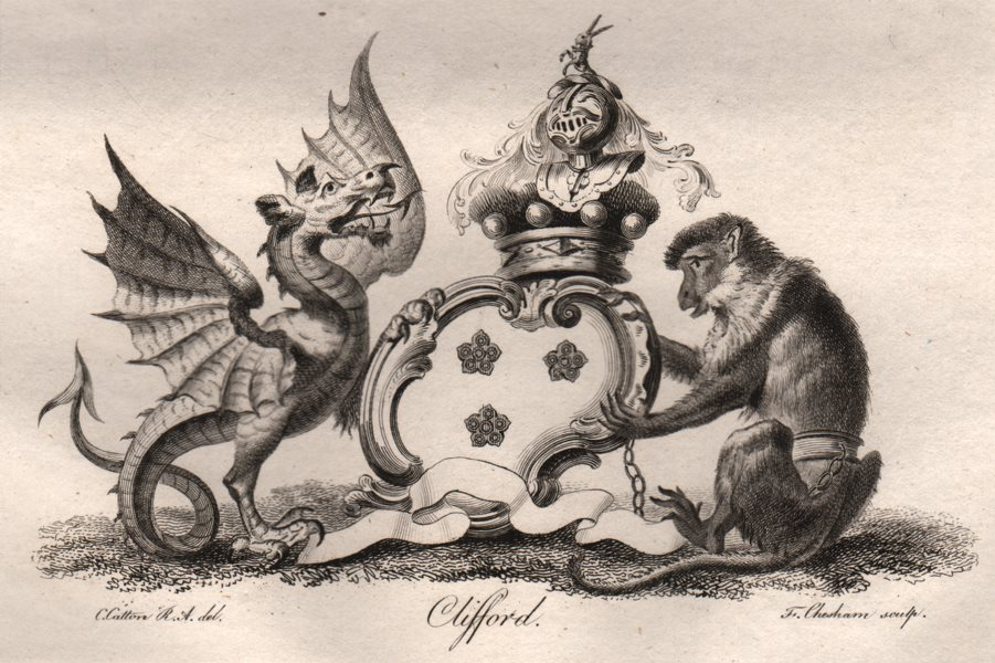 Associate Product CLIFFORD. Coat of Arms. Heraldry 1790 old antique vintage print picture