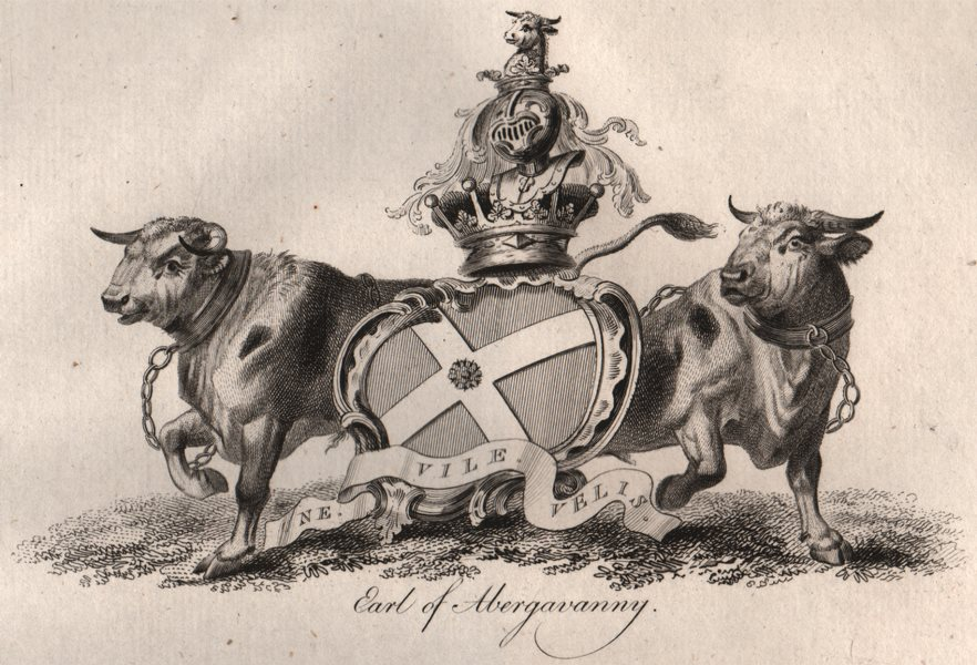Associate Product EARL OF ABERGAVANNY. Coat of Arms. Heraldry 1790 old antique print picture