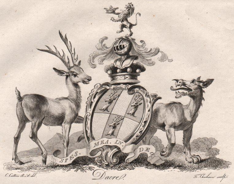 Associate Product DACRE. Coat of Arms. Heraldry 1790 old antique vintage print picture