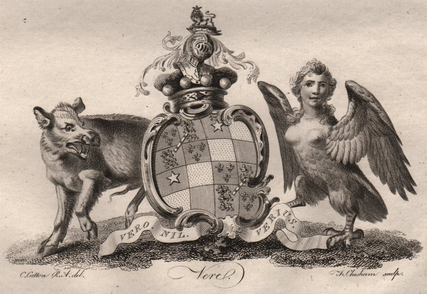 Associate Product VEREL. Coat of Arms. Heraldry 1790 old antique vintage print picture