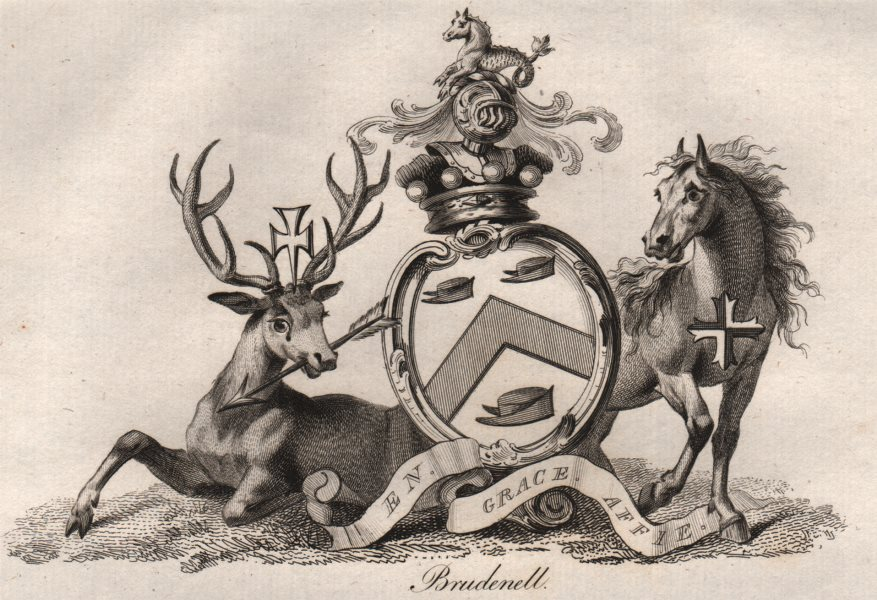 Associate Product BRUDENELL. Coat of Arms. Heraldry 1790 old antique vintage print picture