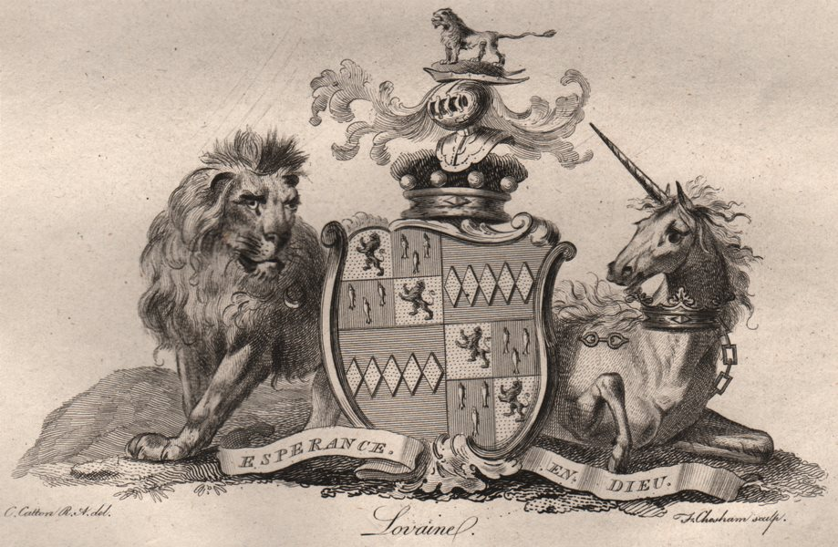Associate Product LOVAINE. Coat of Arms. Heraldry 1790 old antique vintage print picture